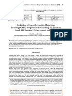 Designing a Computer-assisted Language Learning(CALL) Program and Measuring its Effect on Saudi EFL Learner's Achievement in English