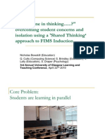 """Am I Alone in Thinking..?"" overcoming student concerns and isolation using a 'Shared Thinking' approach to FIMS Induction."