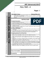 Aits Ft II (Paper 1) Pcm(Ques) Jee(Advanced)