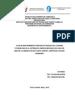 PLAN DE MANTENIMIENTO PREVENTIVO BASADO EN LA NORMA COVENIN 3049-93 AL SISTEMA DE LIMPIEZA MECANICA DE AGUA DE MAR DE LA UNIDAD N°02 DE PLANTA CENTRO -CORPOELEC ESTADO CARABOBO.