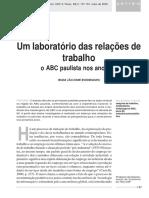 Um laboratório das relações de trabalho o ABC paulista nos anos 90