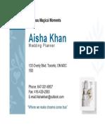 khan aisha businesscard