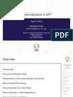 Renormalization in QFT
