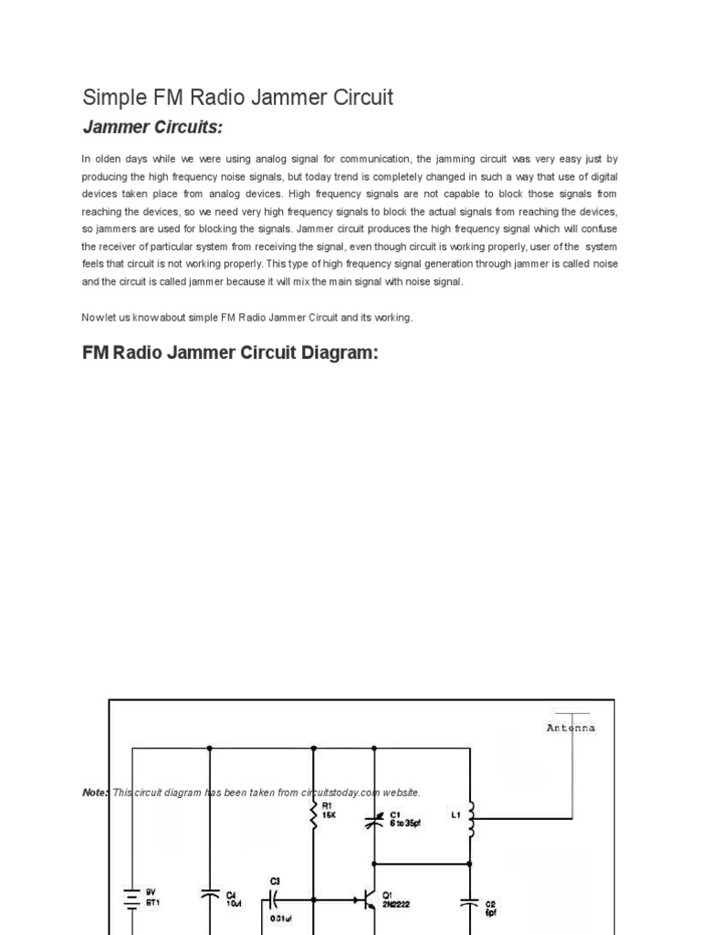 Circuit Diagram Of Simple Fm Radio Jammer Electronicshuborg ... on