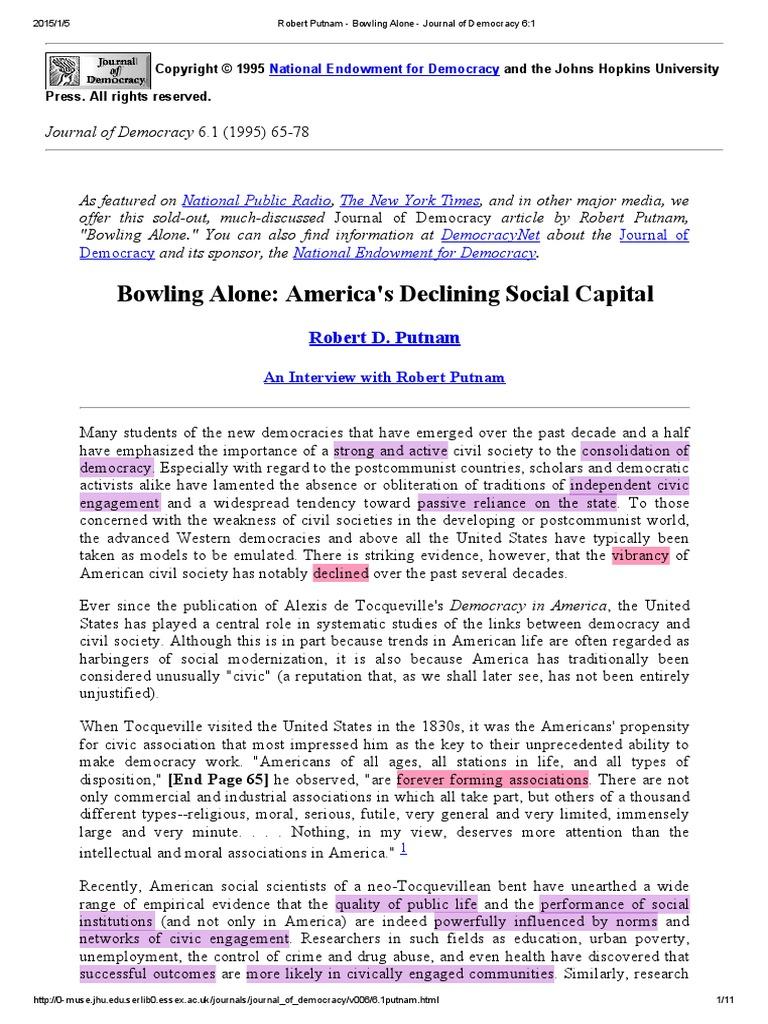 putnam bowling alone journal of democracy pdf