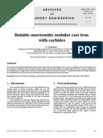 Bainitic Martensitic Nodular Cast Iron With Carbides