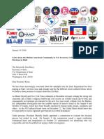 Lettre de la Diaspora Haïtienne au Secrétaire d'État américain John Kerry