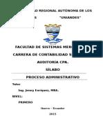 Silabo Procesos Administrativos
