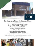 Invitation for Syracuse Mayor Stephanie Miner's State of the City address