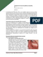 El Diagnóstico y Manejo de La Estomatitis Aftosa Recurrente. Traducción