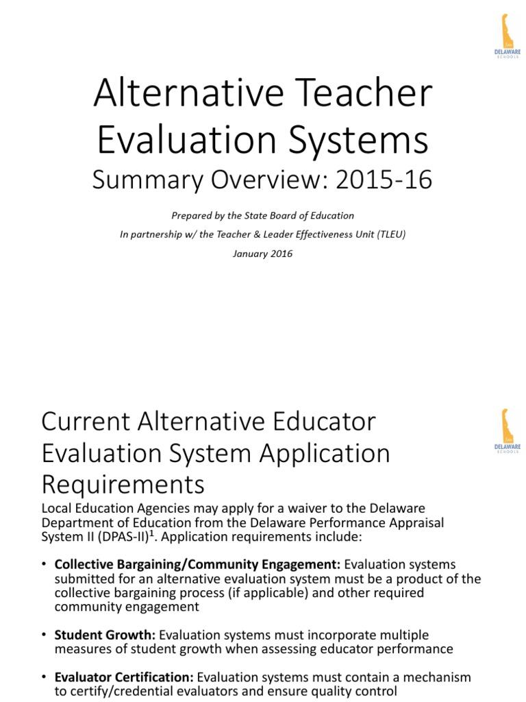 Alternative Teacher Evaluation Systems Rubric Academic Leadership