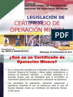 Certificado de Operaciones Mineras