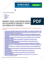 Production and Operations Management Project Topics in Nigeria
