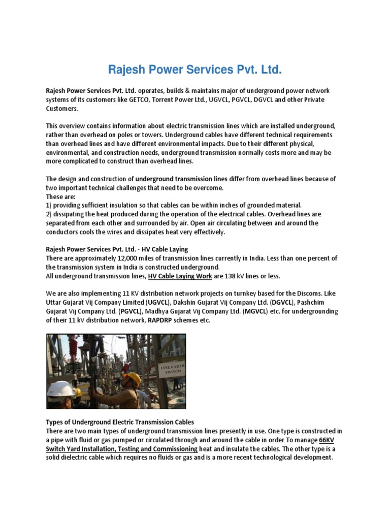 Rajesh Power Services Pvt Ltd | Electric Power Transmission | Cable