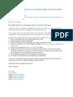 Sample Schengen Visa Appliation Cover Letter