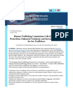 Human Trafficking Commission Calls for Victim Protections, Enhanced Testimony and Increased Penalties for Sex Traffickers