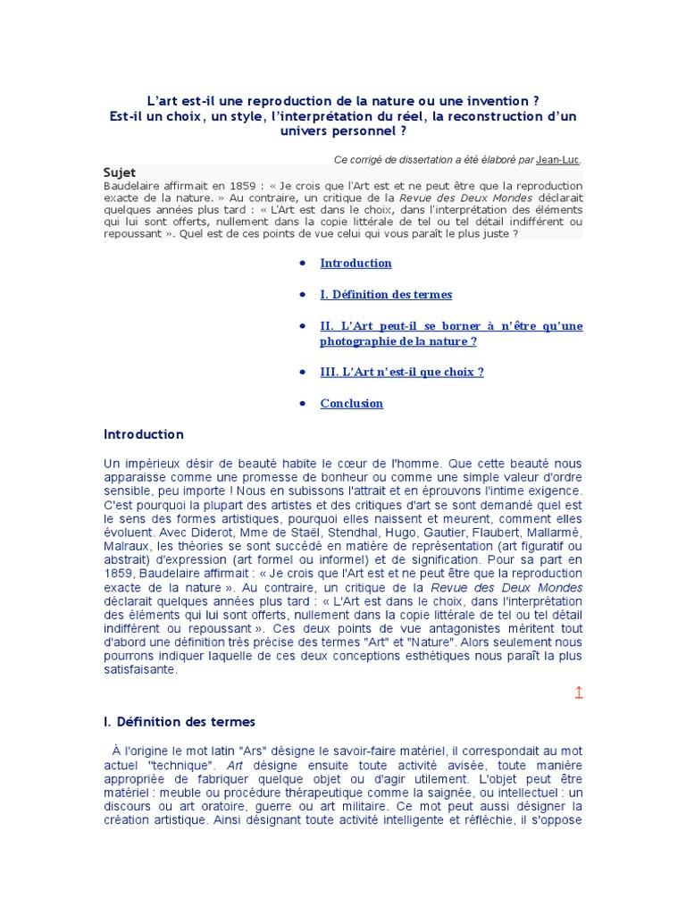 Exemple De Dissertation Philosophique Sur Lart - Exemple ...