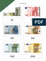 Freebie TAQUID Cartões 3 Partes Notas e Moedas Euro