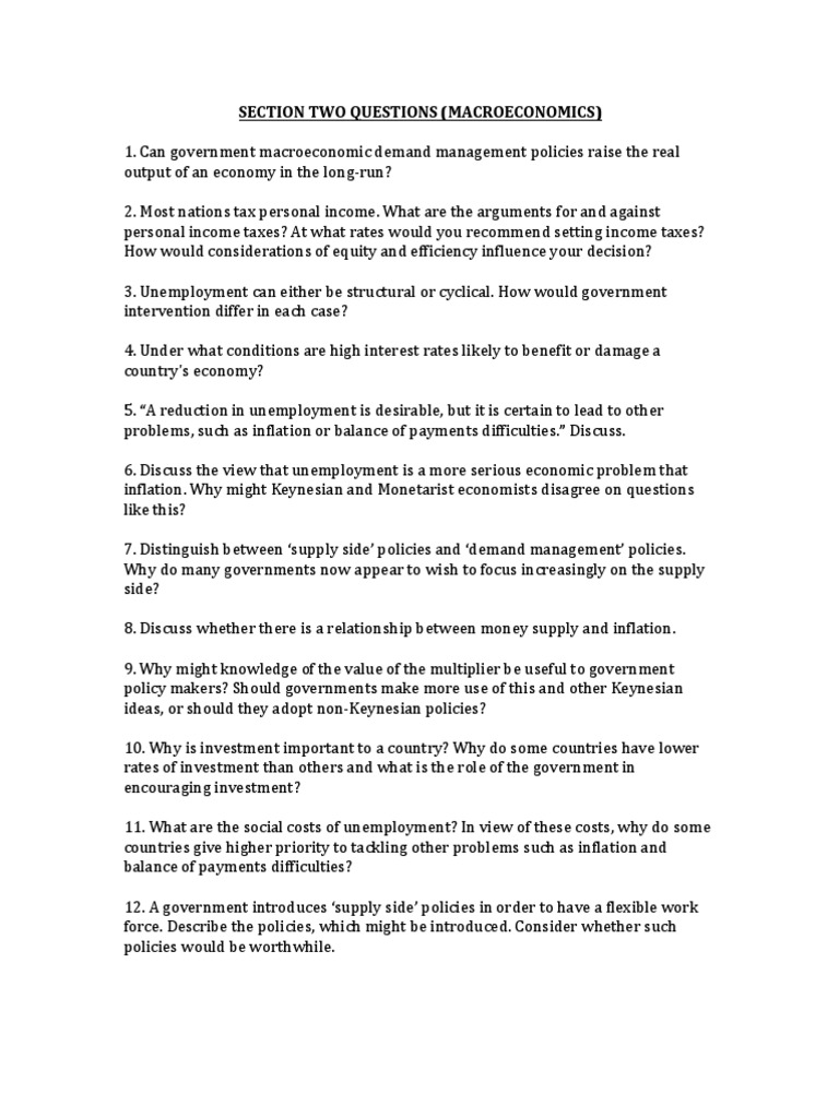 Ib Economics Review Questions Macroeconomics Fiscal Multiplier Macroeconomics