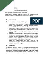 19 de Agosto de 2012 Mensaje Mayordomía Lengua