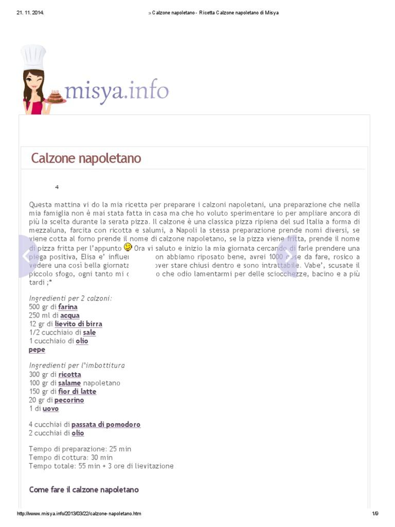 Libro Le Ricette Di Misya calzone napoletano - ricetta calzone napoletano di misya.pdf