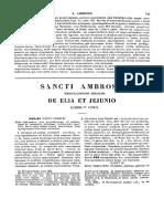 Ambrosius, De Elia Et Jejunio Liber Unus