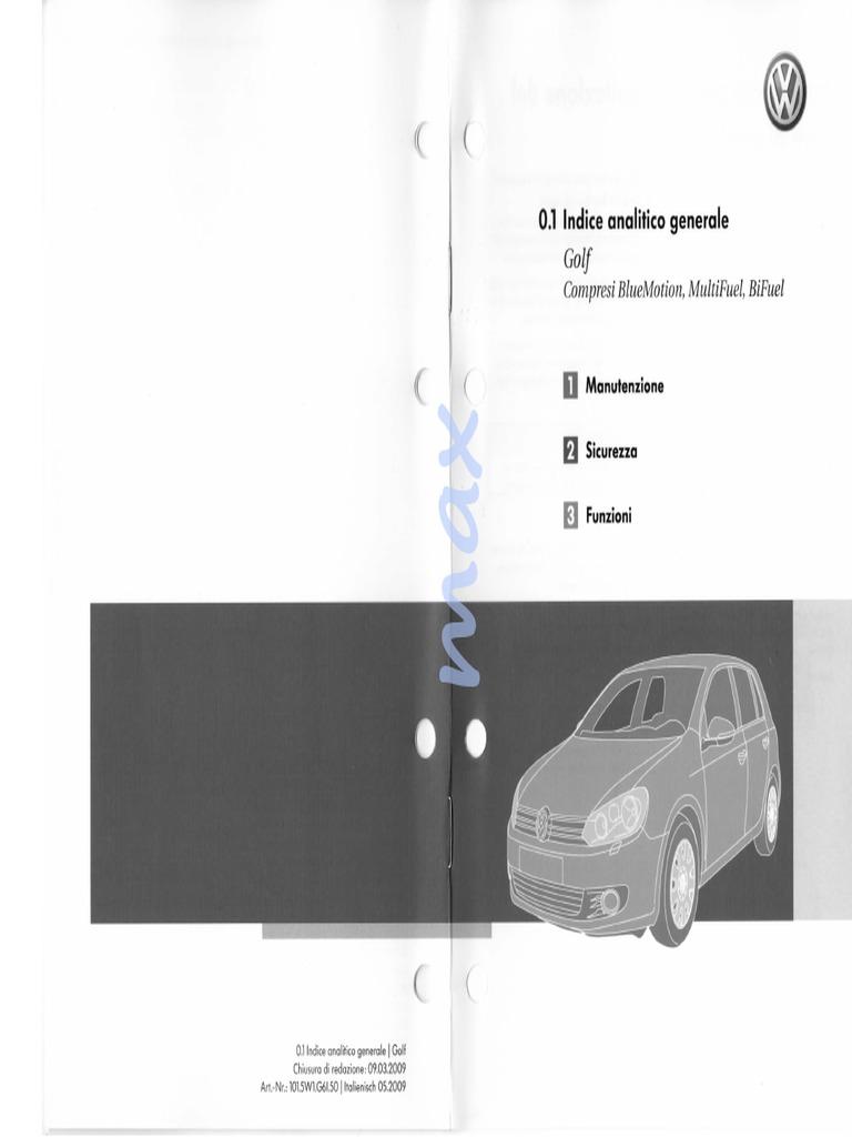 Schema Cablaggio Golf 5 : Libretto d istruzioni volkswagen golf