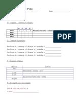 Ficha Matemática 3.º Ano