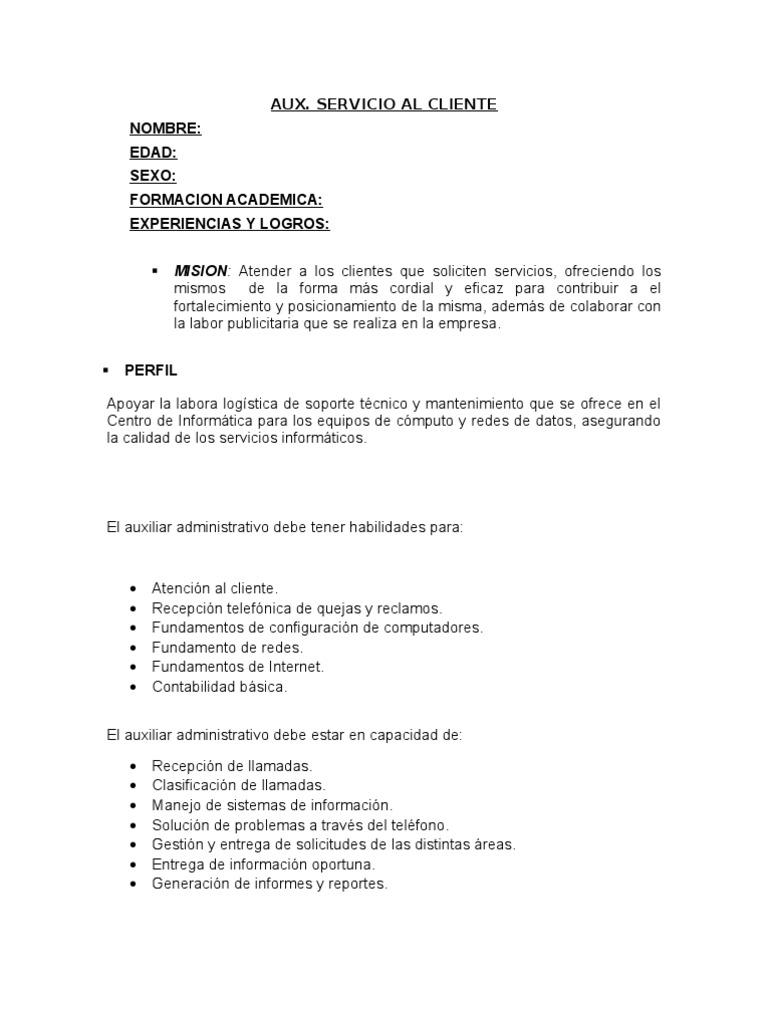 FUNCIONES DEL AUXILIAR DE SERVICIO AL CLIENTE