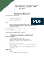 Programming Methodology I – Final Review