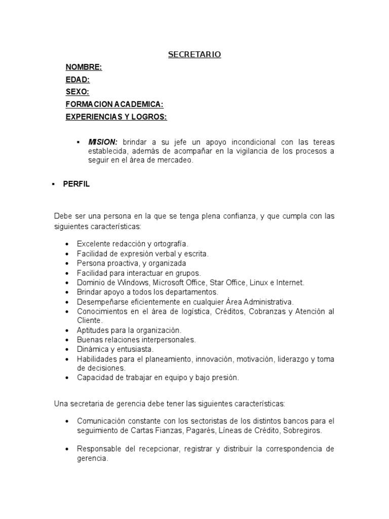 Funciones de la secretaria for Descripcion de una oficina