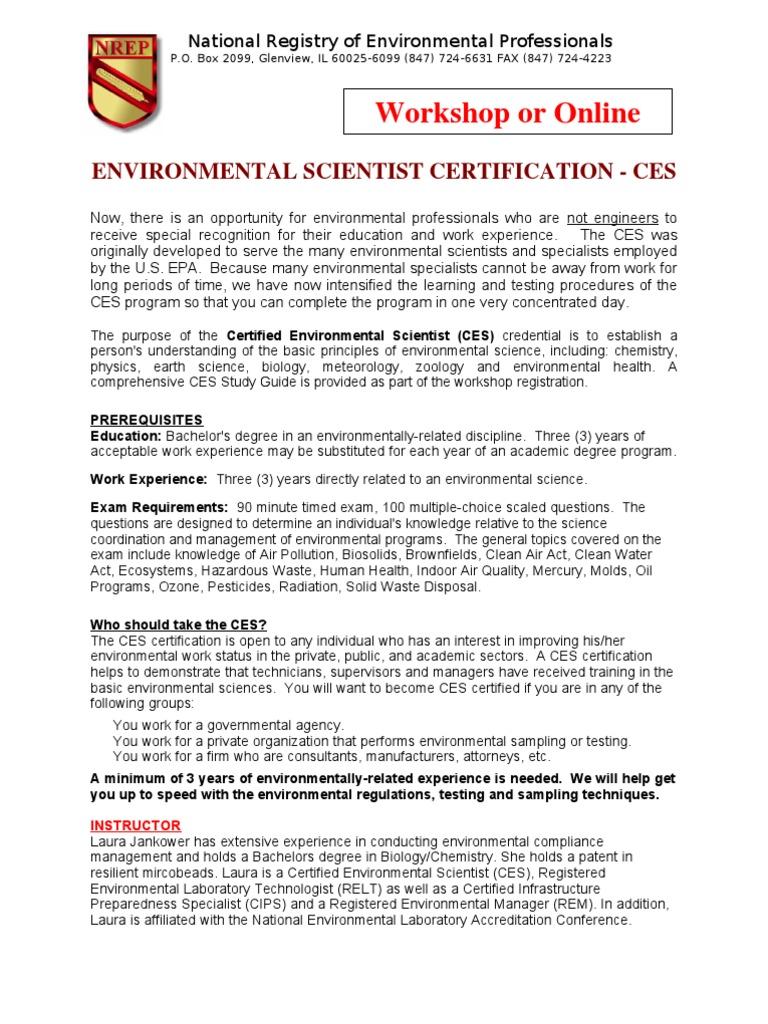 Workshops Environmental Science Test Assessment