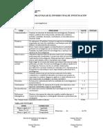 Evaluacion de Informe de Investigacion Uncp