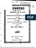 Apuntes de La Campaña de 50 Días de Las Fuerzas Bolivianas en Calama Con Motivo de La Invasión Chilena y Retirada de Éstas a La Ciudad de Potosí Después Del Combate Del 23 de Marzo Último. (1879)