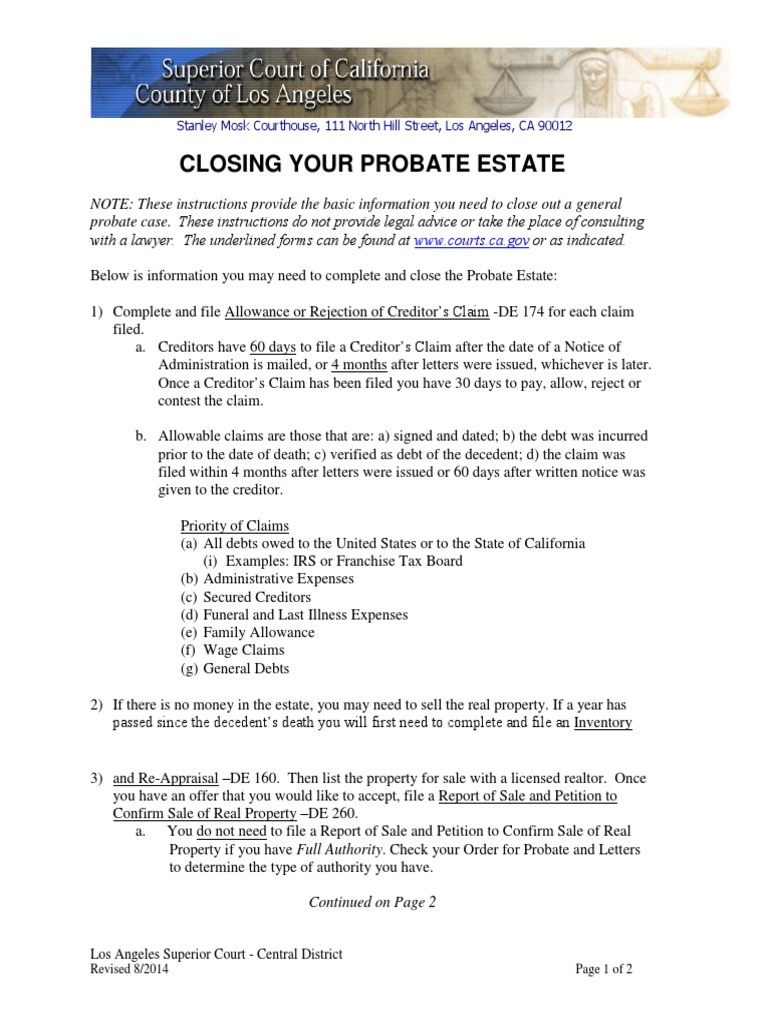 Closing your probate estate instructions probate debt solutioingenieria Gallery