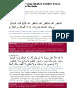 Bacaan Dzikir Yang Shahih Setelah Shalat Fardhu Sesuai Sunnah