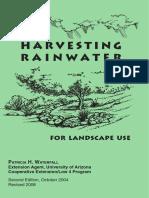 31625024 Harvesting Rainwater for Landscape Use Tuscon AZ