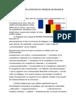 Particularites Lexicales Du Français de Belgique