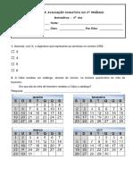 Ficha Avaliação Matematica 4º Ano
