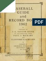 Baseball Guide Rec 1962 St Lo