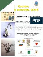 Cascina, Giornata della Memoria 2016