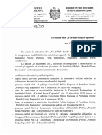Ministerl Justitie a refuzat inregistrarea Partidului DA