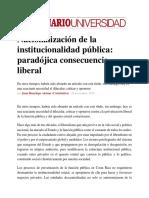Nacionalización de La Institucionalidad Pública