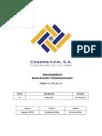 QF OPER PR 014 Procedimiento Movilizacion Desmovilizacion Rev1
