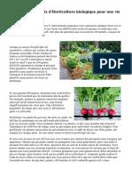 Conseils sur le choix d'Horticulture biologique pour une vie plus saine
