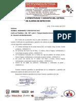 Certificado de Alarma Contra Incendios