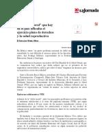 La Jornada_ La Doble Moral Que Hay en El País Dificulta El Ejercicio Pleno de Derechos y La Salud Reproductiva