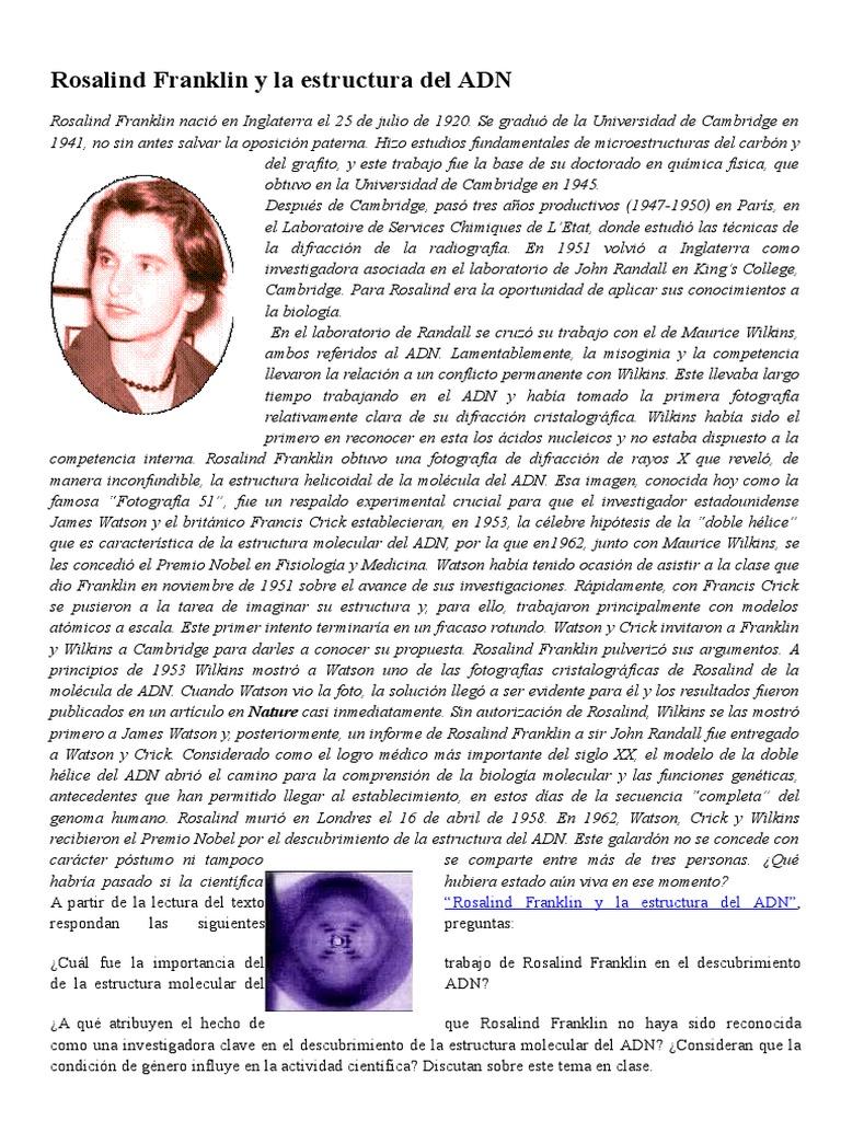 Rosalind Franklin Y La Estructura Del Adn