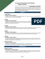 Test de Communication Orale Française (TCO-FR 06A) - Rapport Standard TCO-FR 06