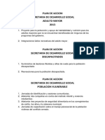 Plan de Accion Secretaria de Desarrollo Social 2013